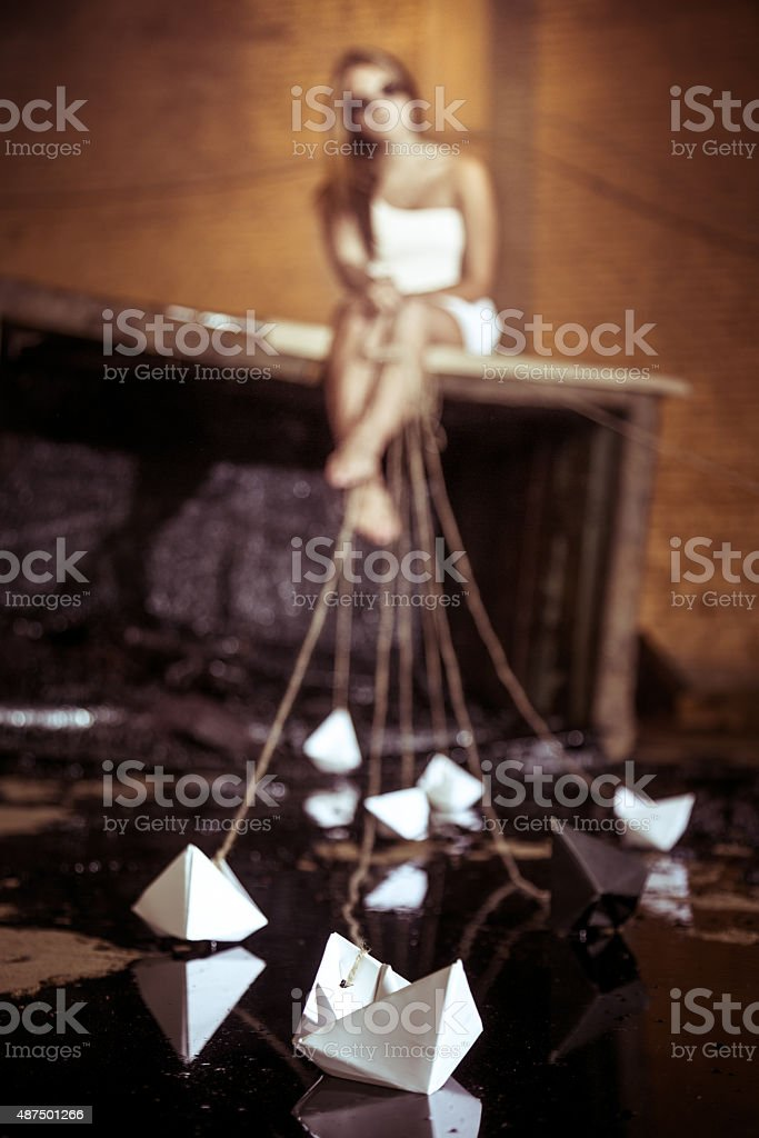Little Paper Boats stock photo