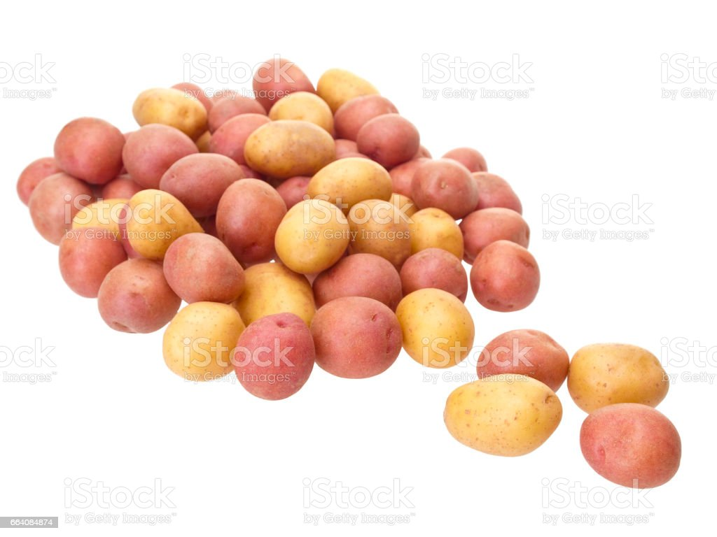 Little patatoes on pure white background stock photo