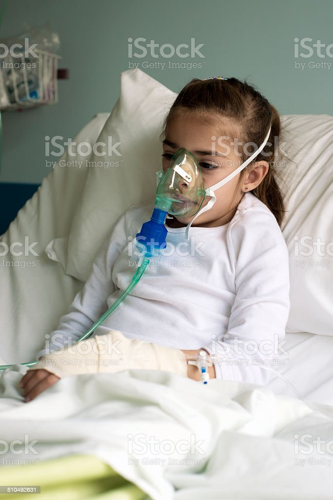 Little patient using a nebuliser stock photo
