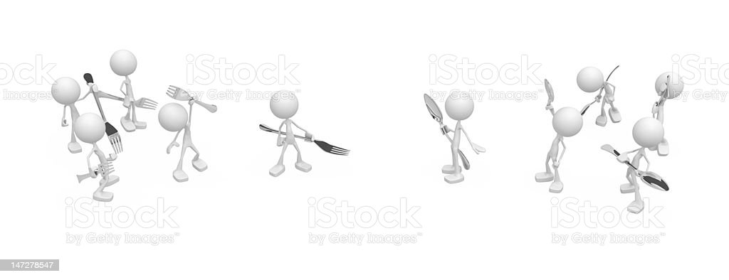 Little People, Confrontation Cutlery royalty-free stock photo