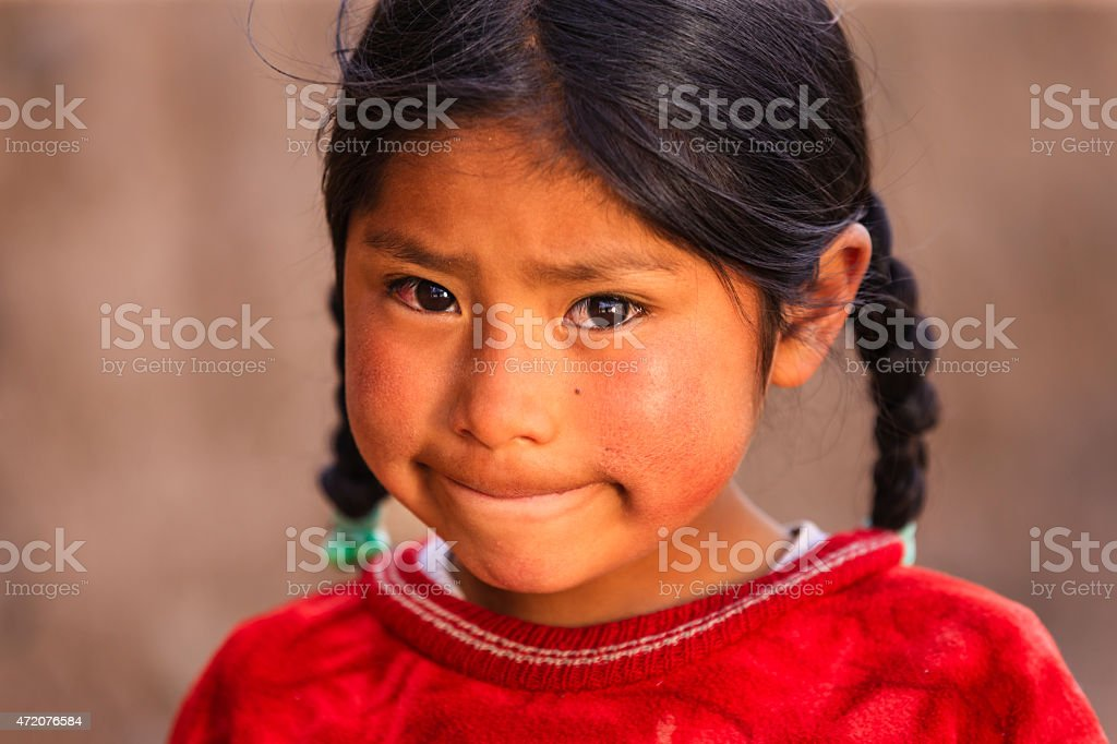 Little Peruvian girl near Canion Colca, Arequipa, Peru stock photo