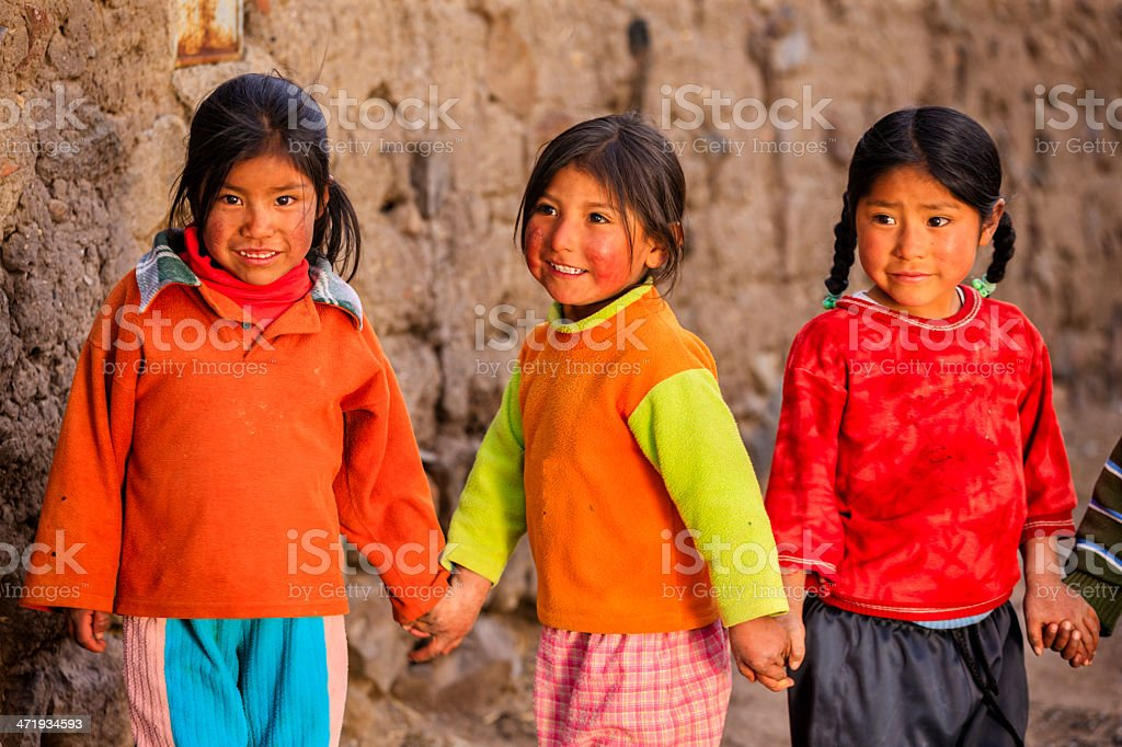 Little Peruvian girls near Canion Colca, Arequipa, Peru stock photo
