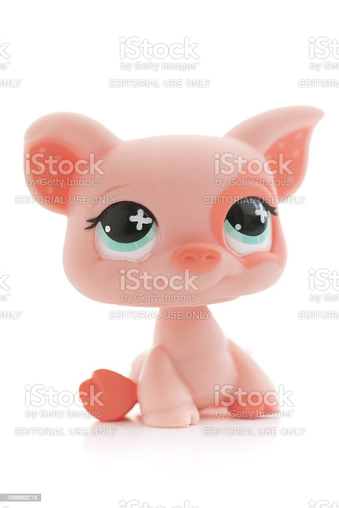 Little Pet Shop pig toy on white background royalty-free stock photo