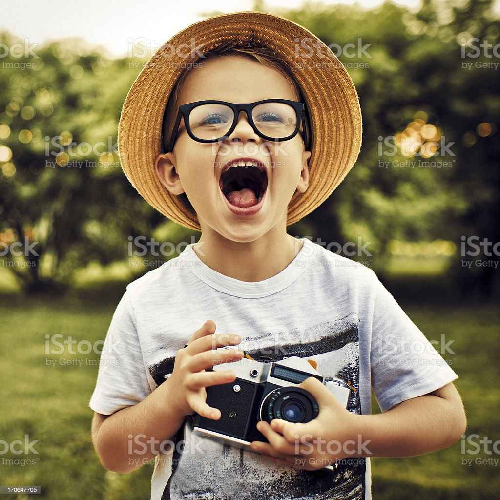 Little photographer stock photo