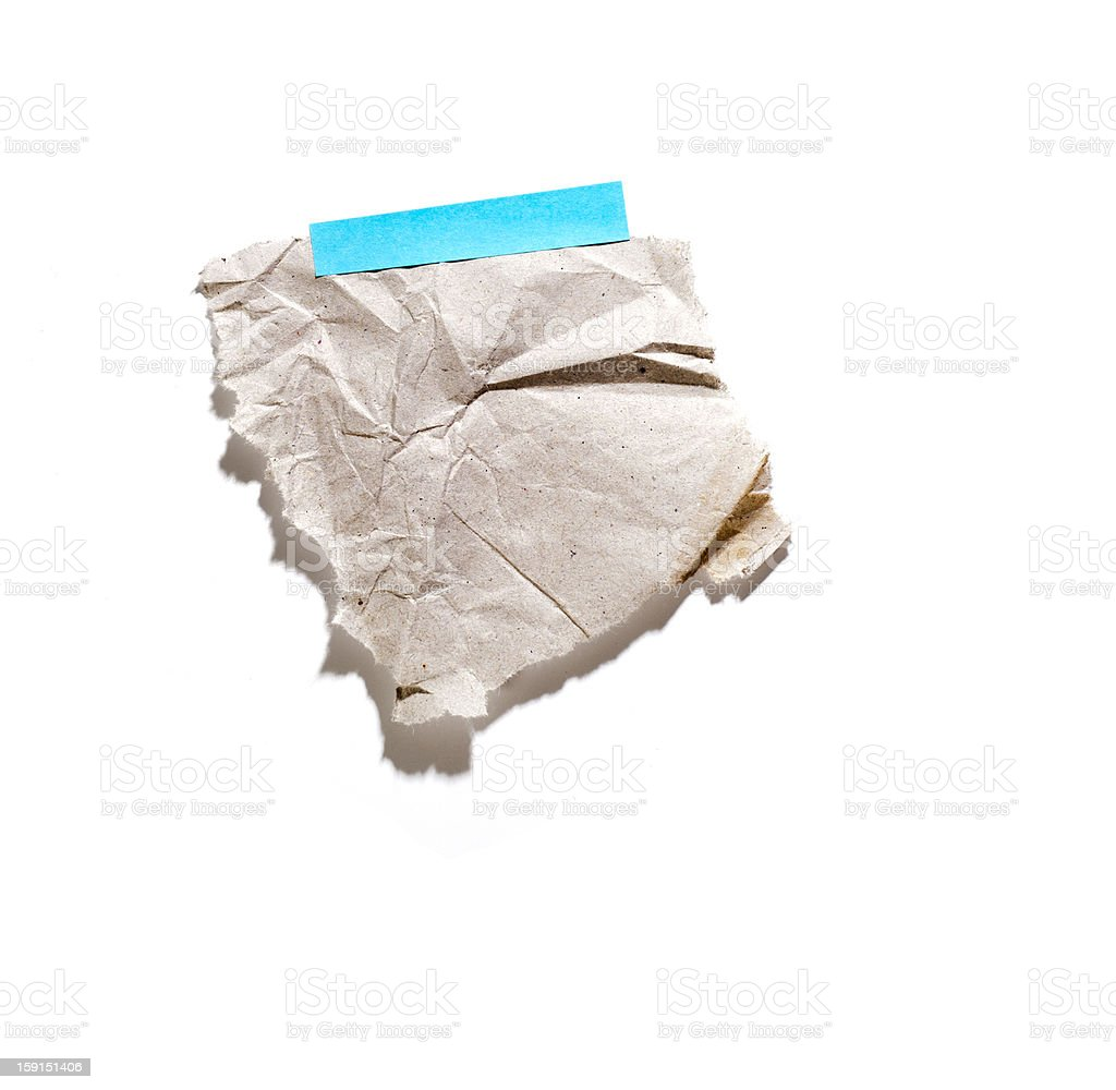Little piece of paper held by an adhesive royalty-free stock photo