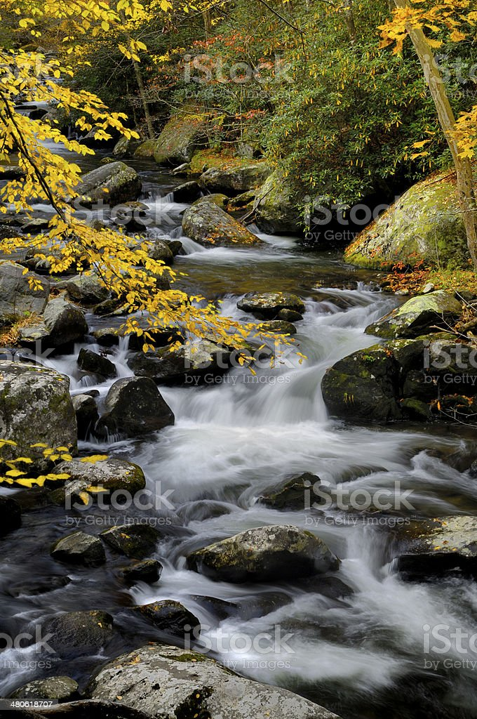 Little Pigeon River at Tremont in Great Smoky Mountains stock photo