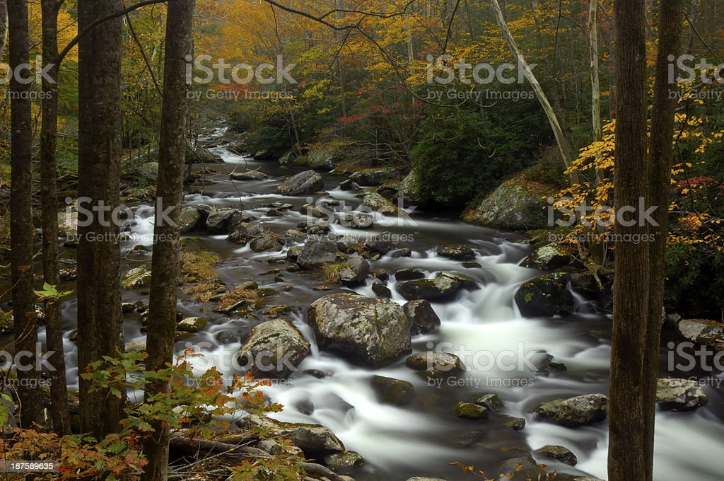 Little Pigeon River in Autumn at Great Smoky Mountains stock photo