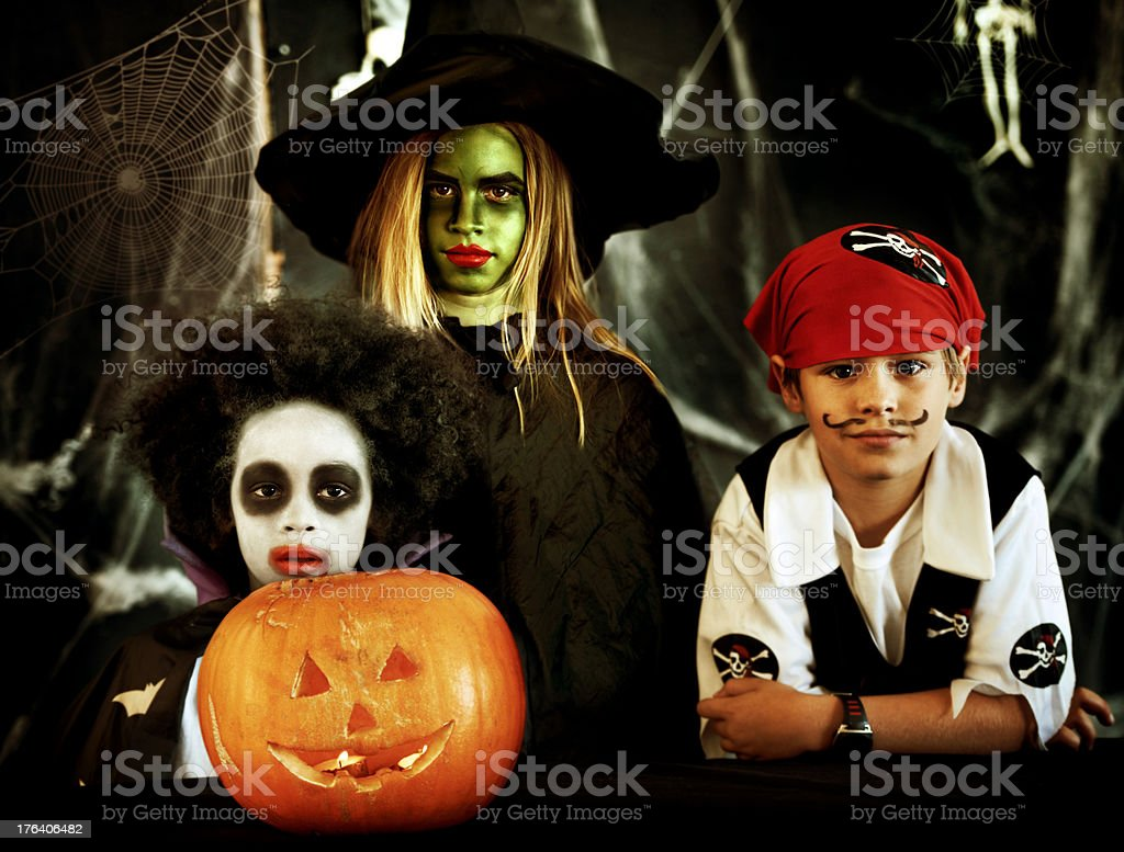 Little pirates and witches coming out to play royalty-free stock photo