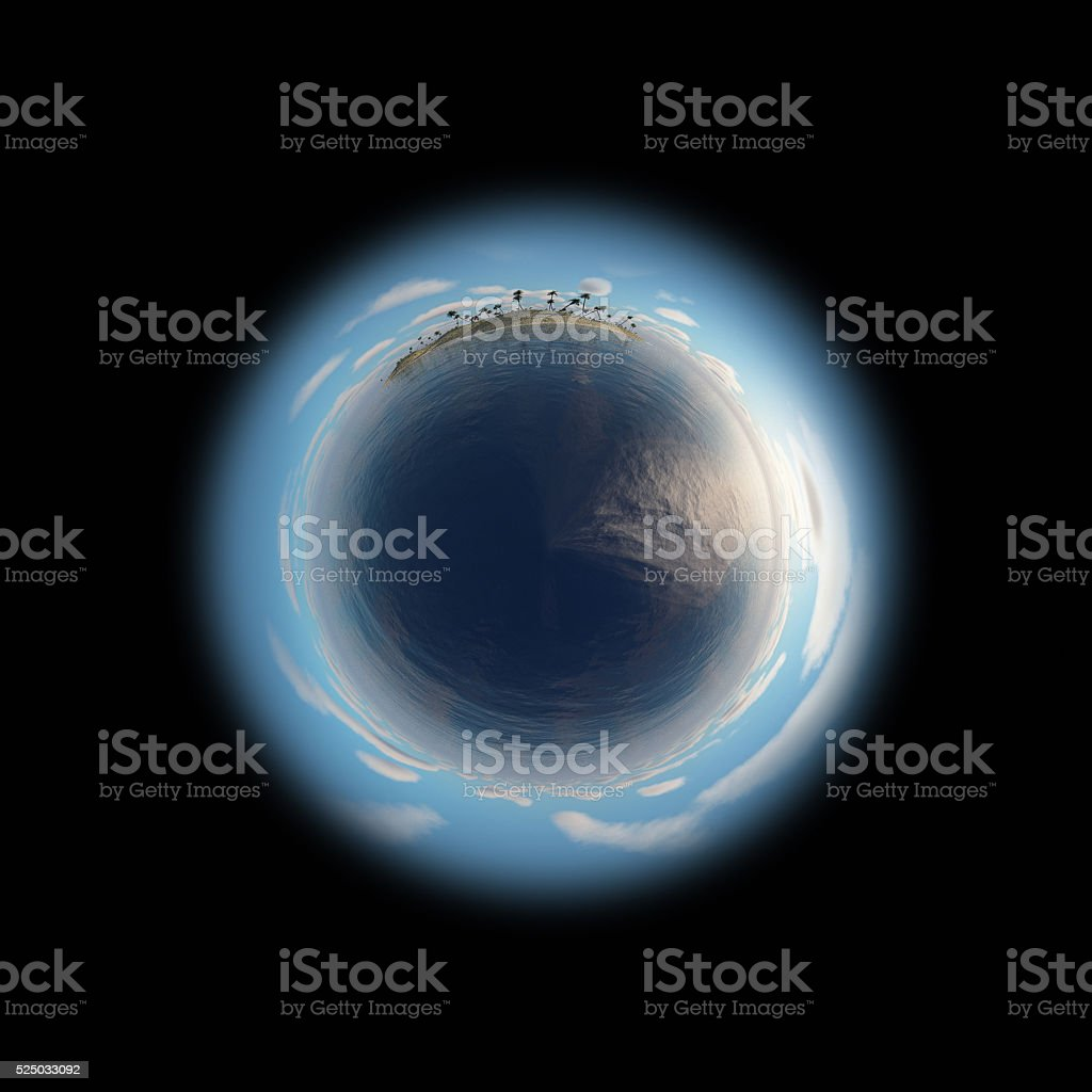 Little planet with sea and island. stock photo