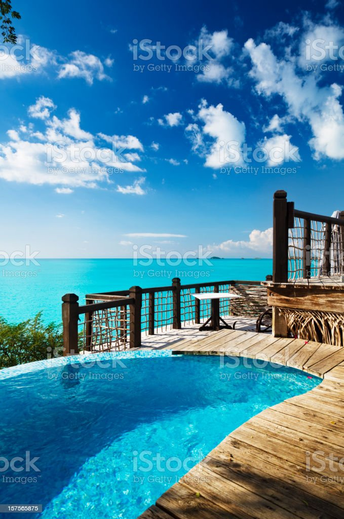 Little Pool Overlooking Caribbean Sea royalty-free stock photo