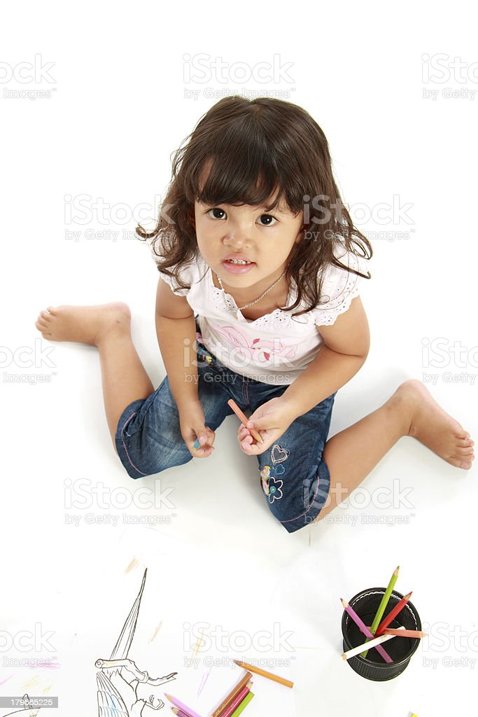 little pretty girl hold pencil color royalty-free stock photo