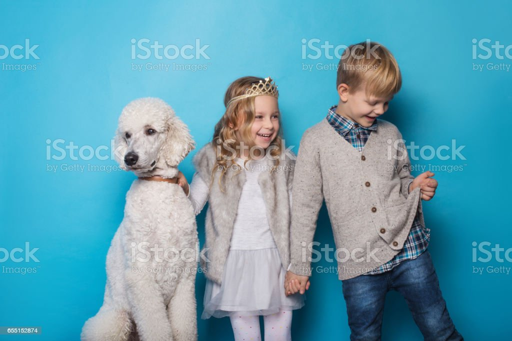 Little princess and handsome boy with Royal poodle. stock photo