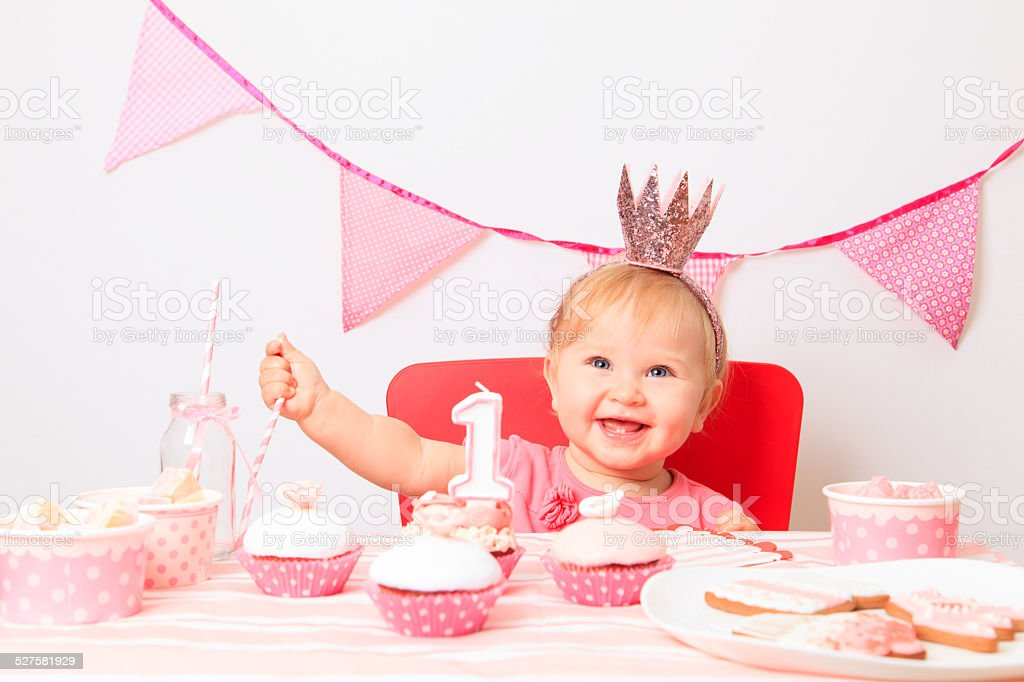 little princess at first birthday party stock photo
