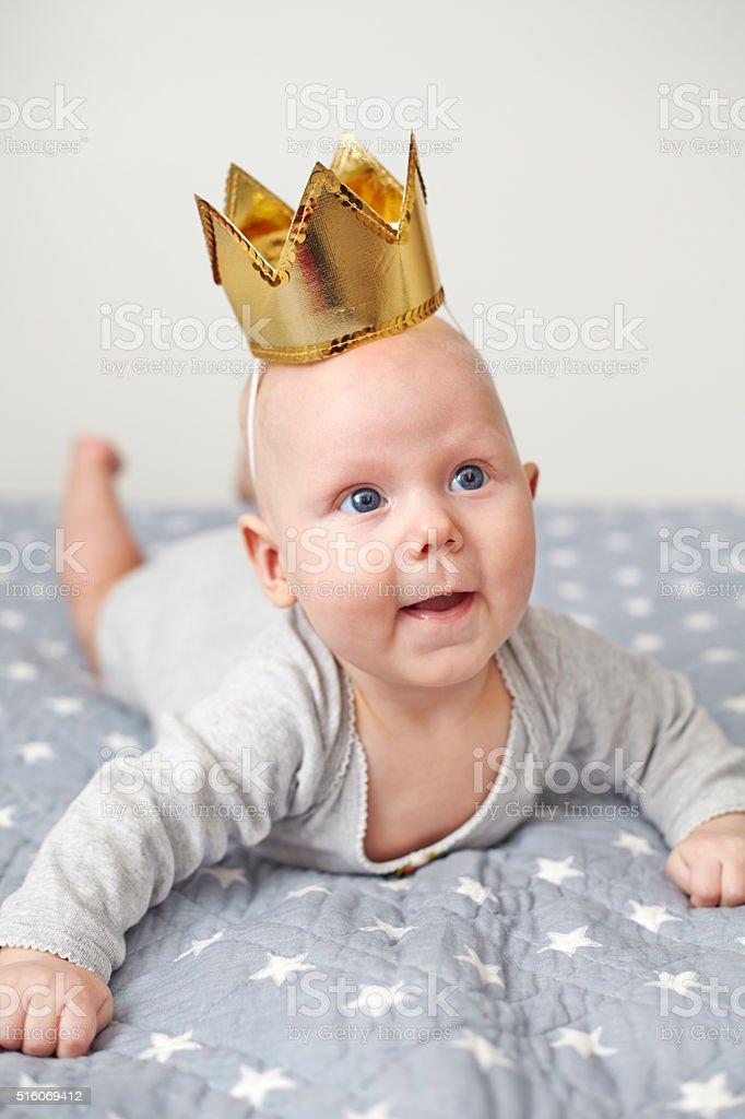 little princess on blanket stock photo