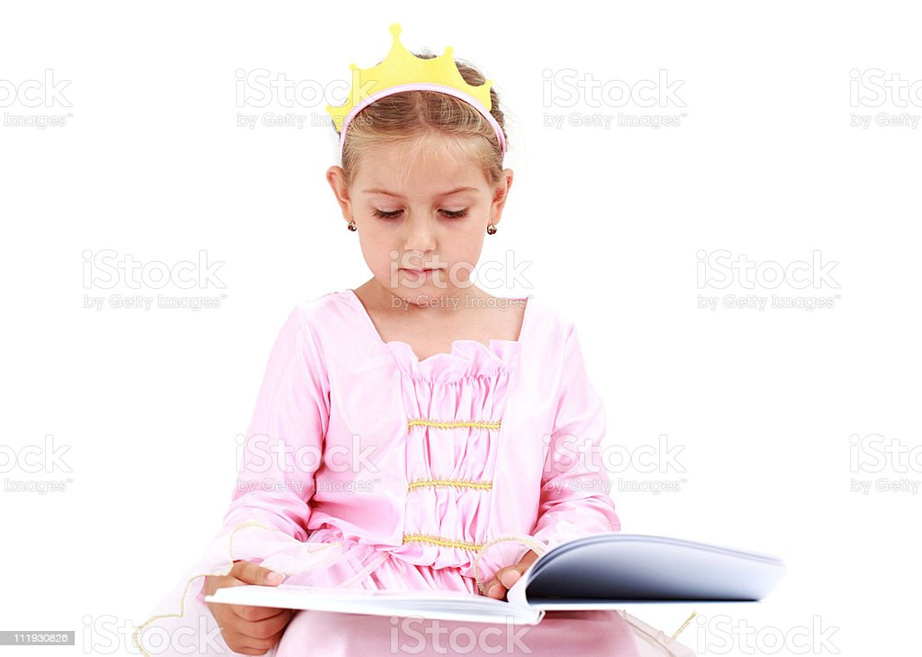 Little princess reading stock photo
