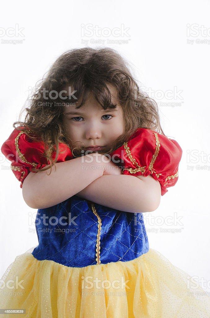 Little princess sulking stock photo