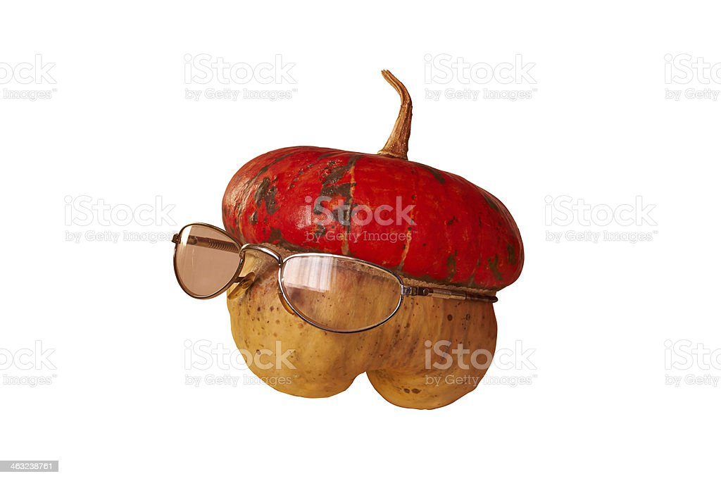 little pumpkin with glasses royalty-free stock photo
