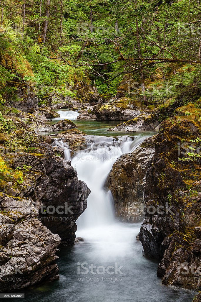 Little Qualicum Falls on Vancouver Island, Canada stock photo