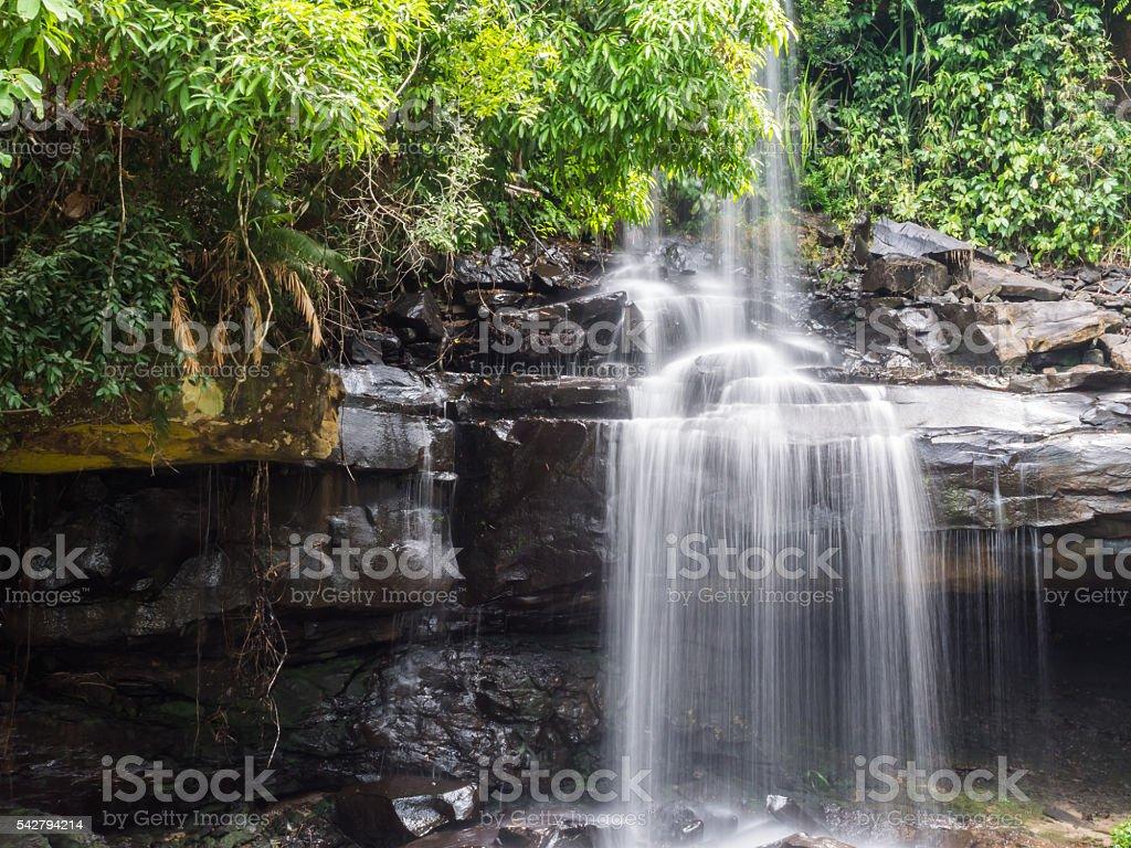 Little rainforest waterfall at Koh Kood stock photo