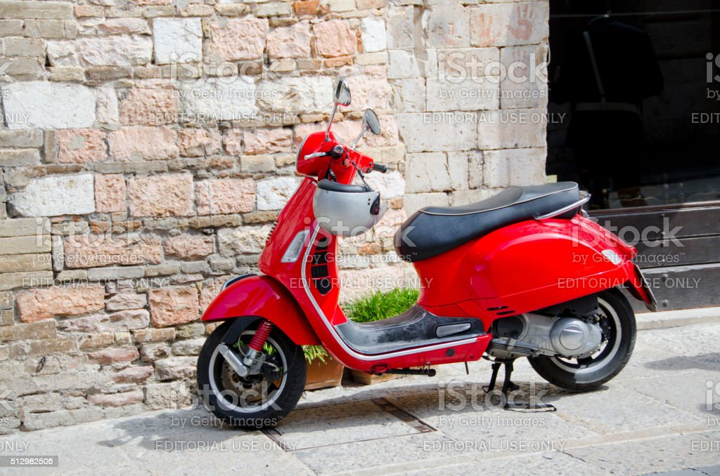 Little Red Italian Scooter stock photo