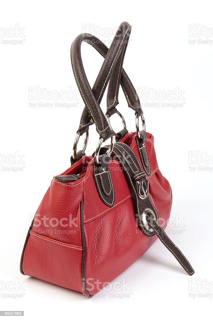 little red leather bag royalty-free stock photo