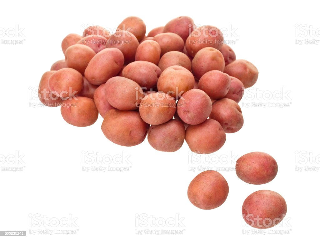Little red patatoes on pure white background stock photo