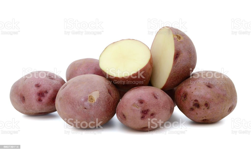Little red potatoes sliced on pure white background stock photo