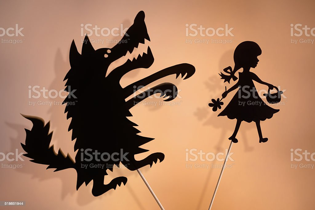 Little Red Riding Hood and the Wolf shadow puppets stock photo