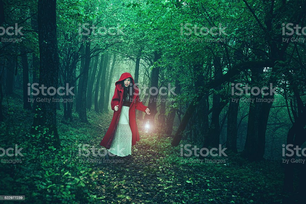 Little Red Riding Hood in the woods stock photo