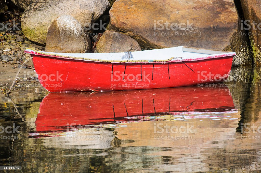 Little Red Rowboat stock photo