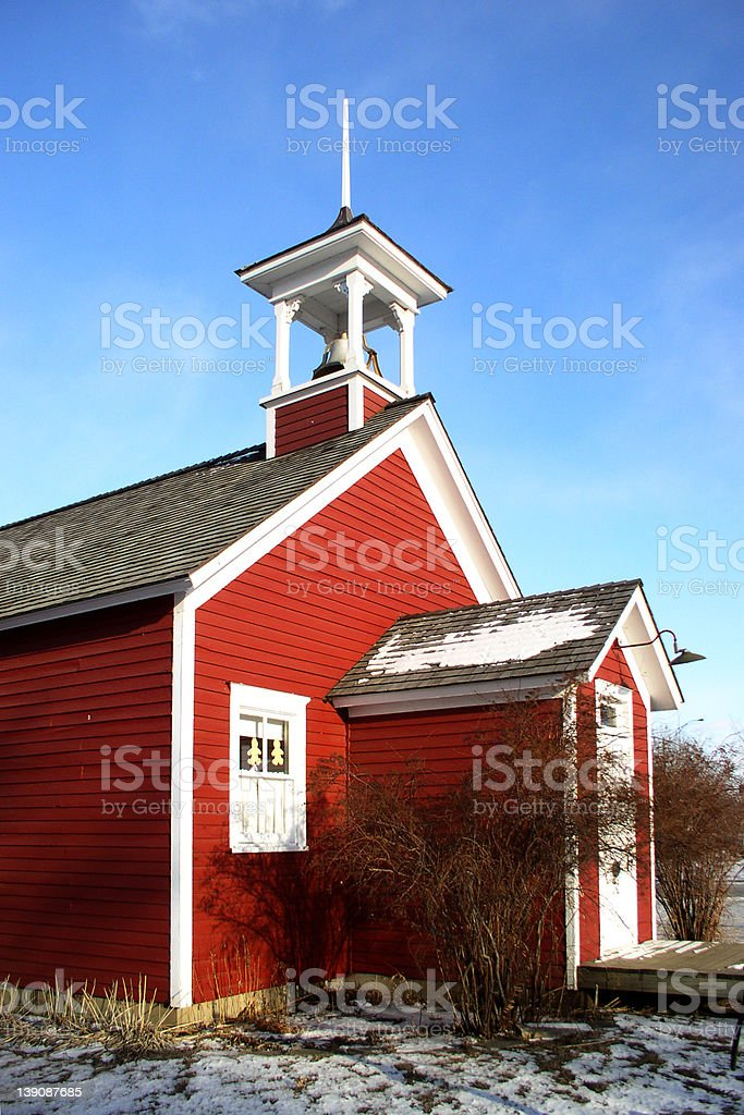 EDUCATION, little red schoolhouse - 3/4 side view royalty-free stock photo