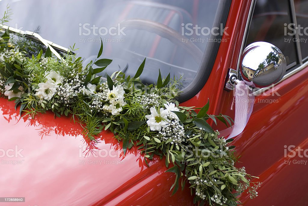 Little red Wedding Car stock photo