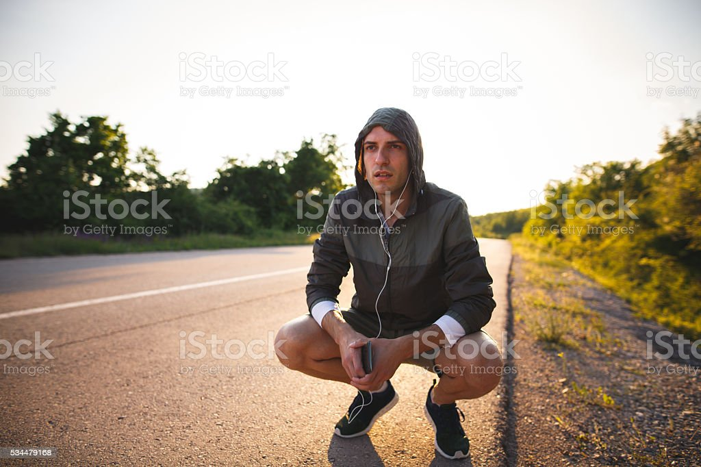 Little rest after hard workout stock photo