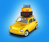 Little retro car with bags, travel concept