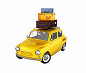 Little retro car with bags, travel concept witout shadows