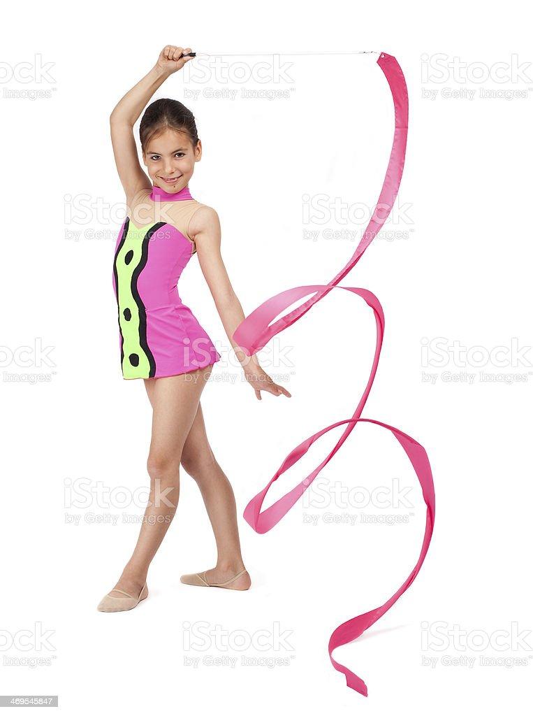 little rhythmic gymnast with ribbon stock photo