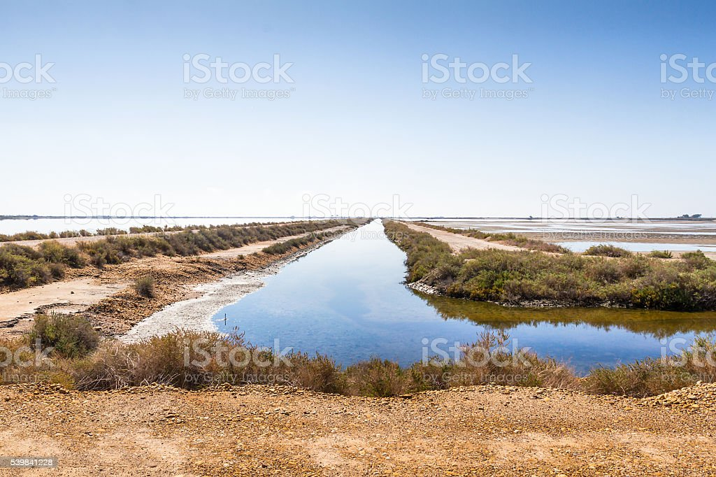 Little river in a salr flats - Aigues-Mortes - France stock photo