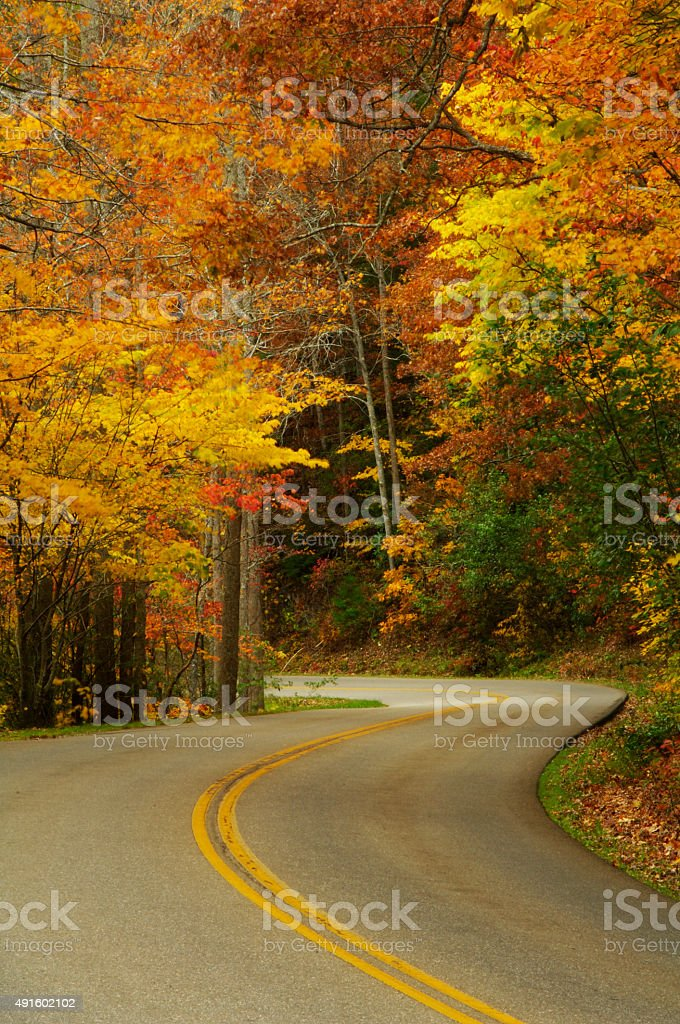 Little River Road  in Great Smoky Mountains National Park stock photo