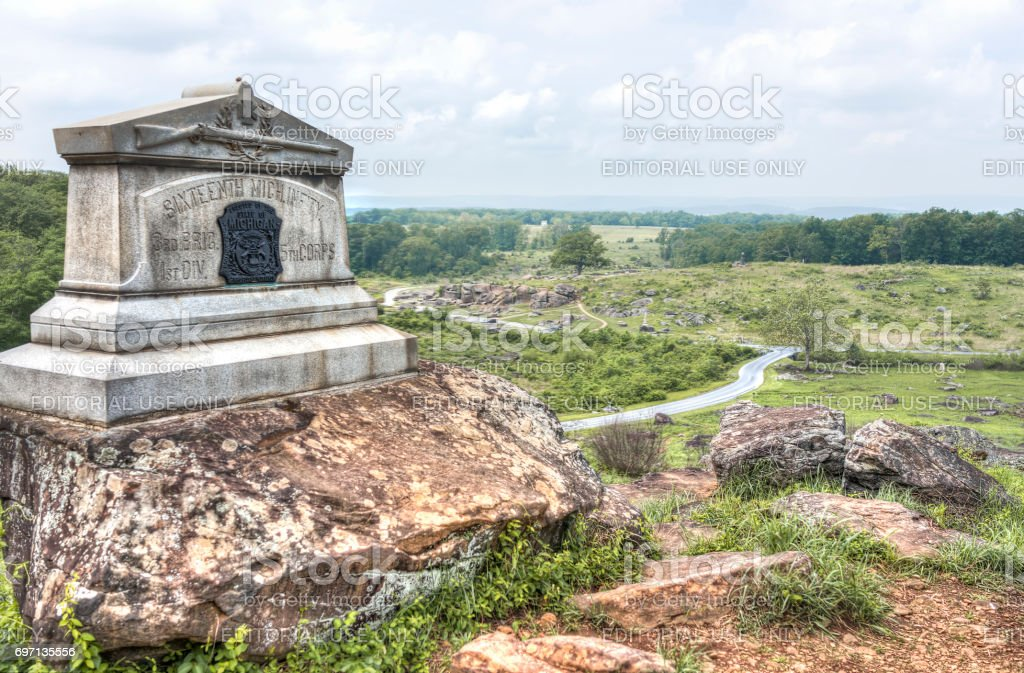 Little Round Top Grave stone in Gettysburg battlefield national park with Michigan Infantry during summer stock photo