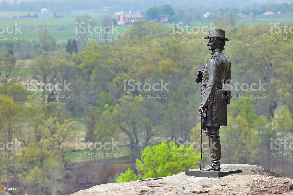 Little Round Top Memorial - Gettysburg stock photo