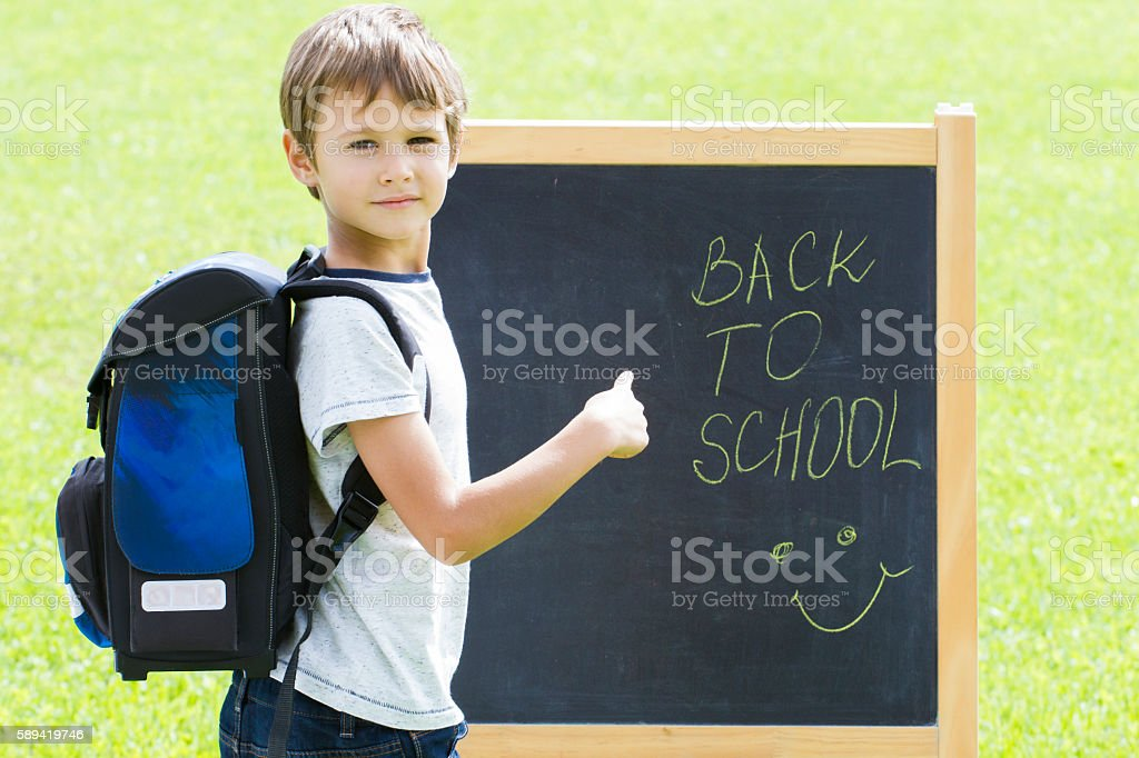 Little schoolboy against the blackboard. Education, Back to school concept stock photo
