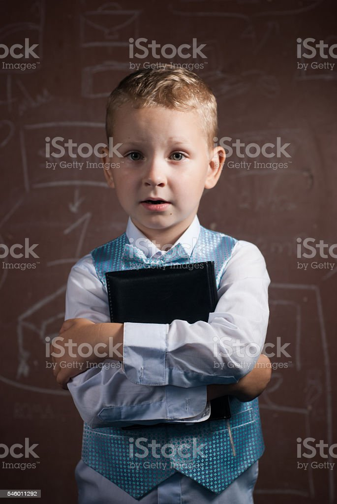 Little schoolboy with blond hair in a nice suit, stock photo