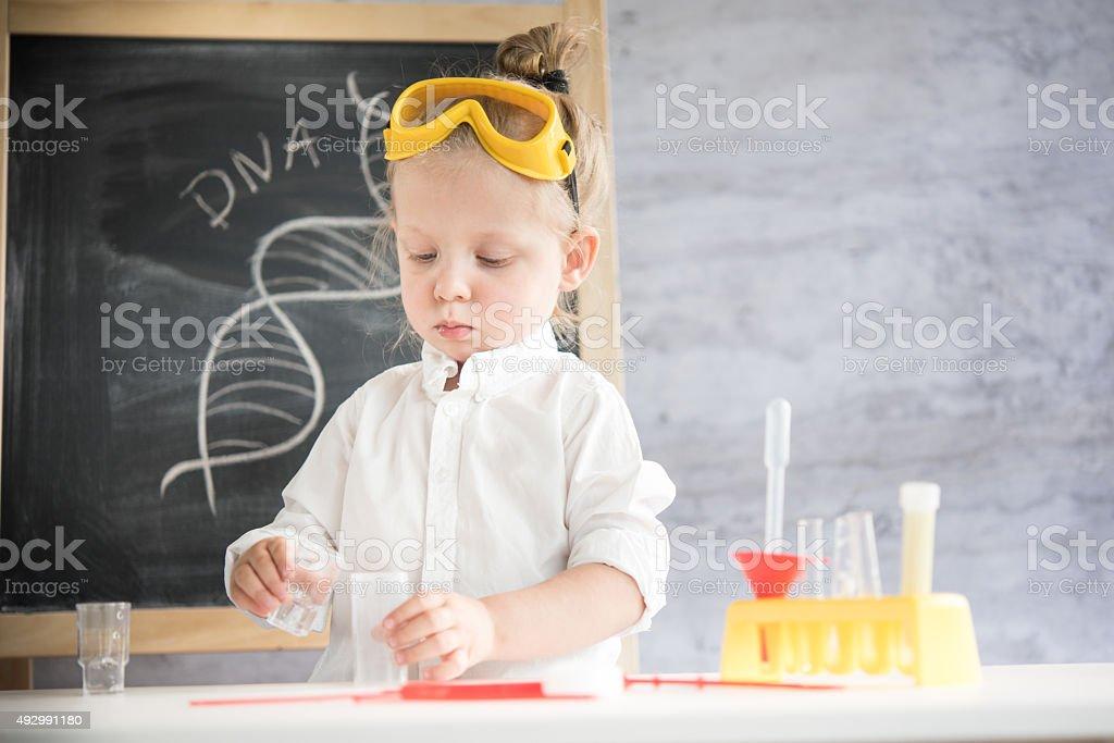 Little scientist stock photo