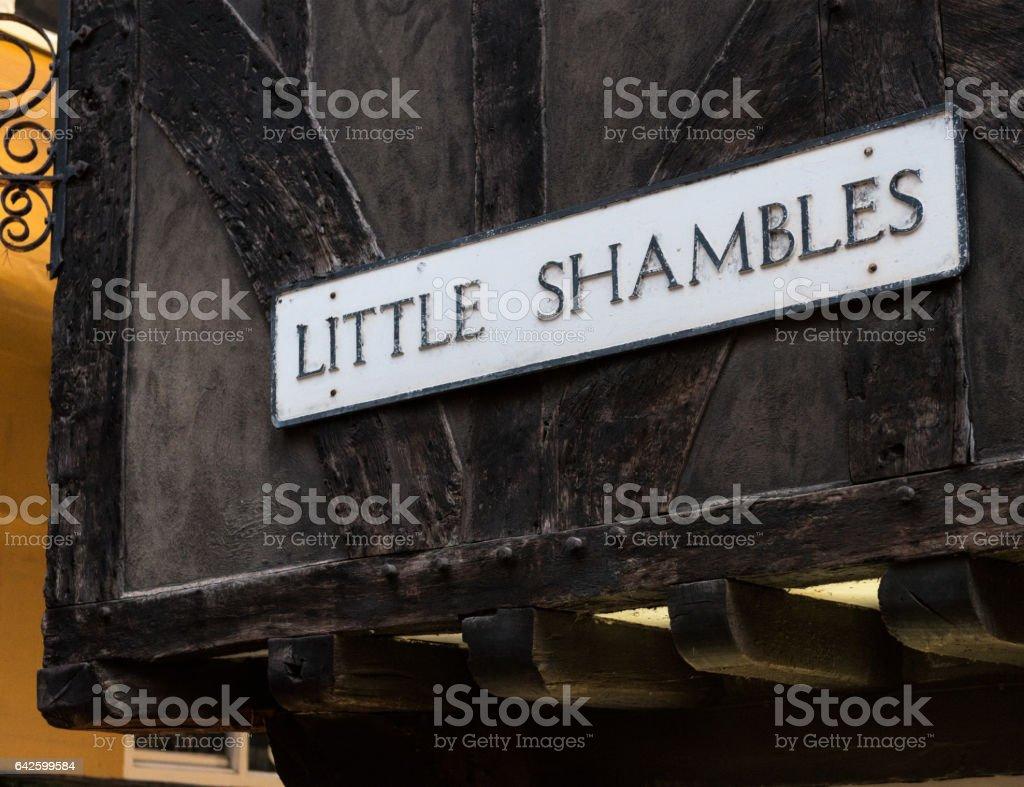 Little Shambles street sign in York, England stock photo
