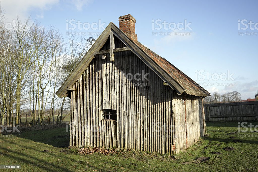 Little shed in the sun stock photo