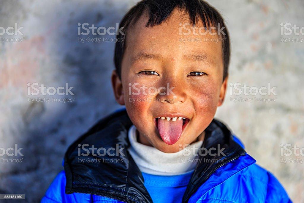 Little Sherpa boy in Everest Region, Nepal stock photo