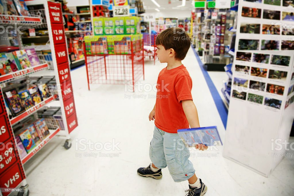 Little Shopper in Toy Store royalty-free stock photo