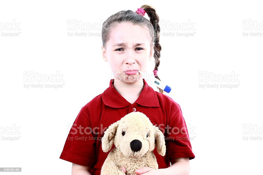 Little sick girl stock photo