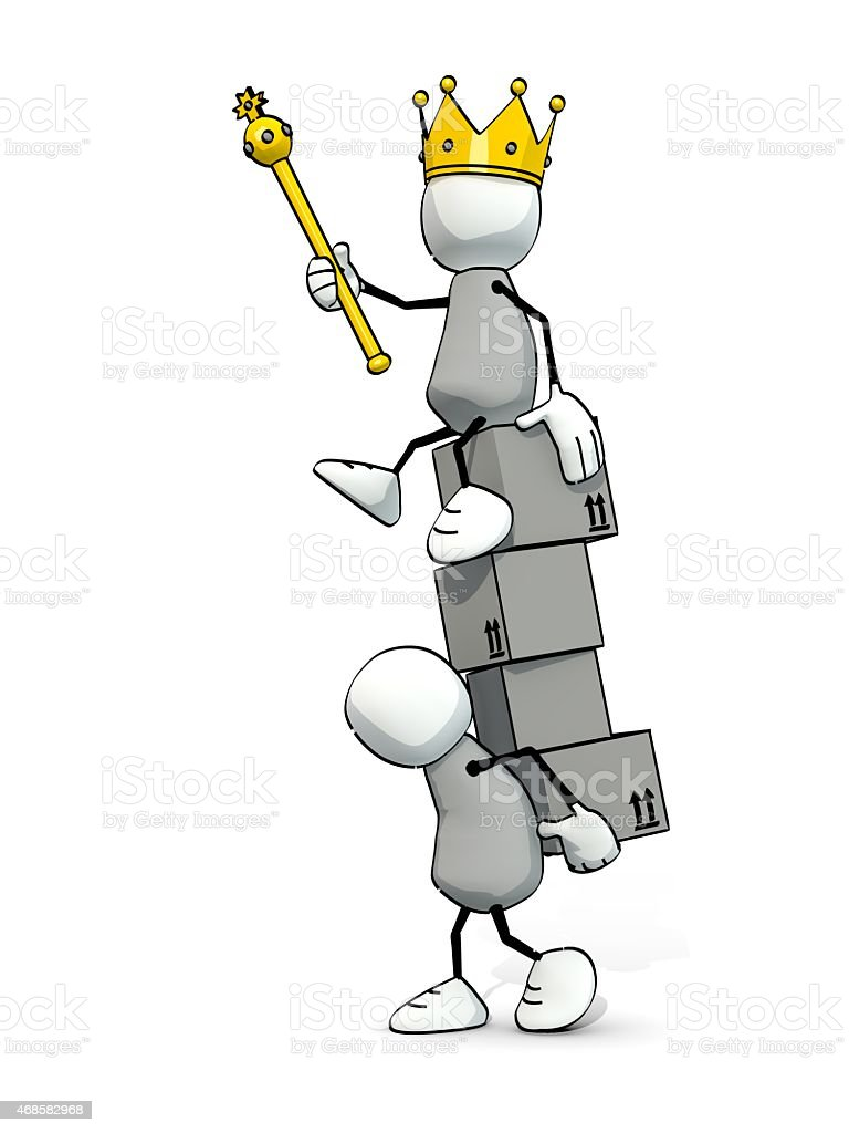 little sketchy man carrying packages with king on top stock photo