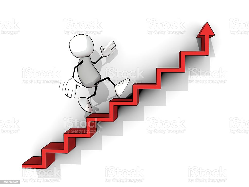 little sketchy man climbing up red stairs with up-arrow stock photo